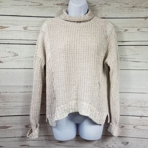 EXPRESS turtleneck cream chunky knit sweater
